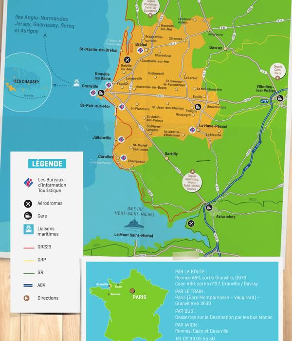 Carte touristique de la Destination Granville Terre et mer